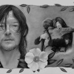 Grafiet tekening Daryl & Carol - Cherokee rose, 30x42cm, potlood op Bristol