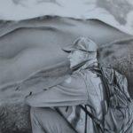 Grafiet tekening 'Man', 21x21cm, potlood op Canson Bristol