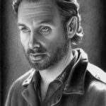 Grafiet tekening 'Rick Grimes', 7,5x11cm, potlood op Canson Bristol