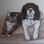 Gedetailleerde schets 'Hond en kat', 15x21cm, pastel op Strathmore