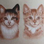 Gedetailleerde schets 'Nala en Simba', 23x30cm, pastel op Strathmore