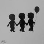 Grafiet tekening 'geboortekaartje drieling', 15x15cm, potlood op Canson Bristol